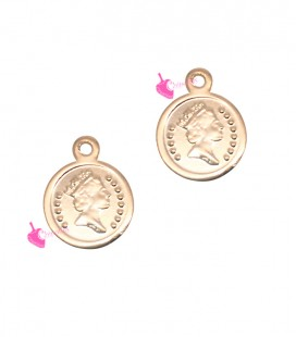 Ciondolo Moneta 9 mm colore Oro Rosa