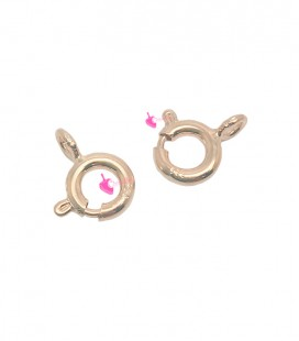Chiusura Anello a molla 6 mm Argento 925 Oro Rosa