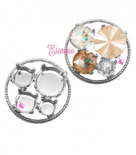 Cerchio con Castoni per Rivoli 12 mm, Chaton SS39 e SS29 colore Acciaio