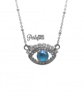 Collana Occhio Turco con Cristalli Crystal e Azure Blue