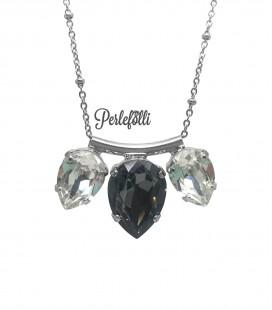 Collana Gocce Swarovski® Crystal e Crystal Silver Night