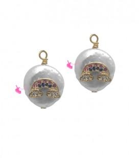 Ciondolo Perla Acqua Dolce 14-18 mm con Arcobaleno Zirconi Colorati