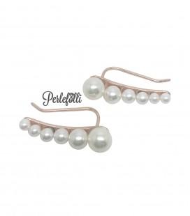 Orecchini Earcuff con Perle Bianche Argento 925 Rosé