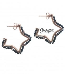 Orecchini Stella con Pietre Nere Argento 925 Rosé
