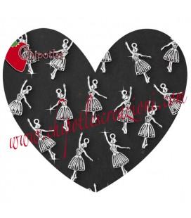 Ciondolo Ballerina 32x15 mm color Argento Antico