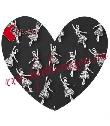 Ciondolo Ballerina 32x15 mm color Argento Antico (50 pezzi)