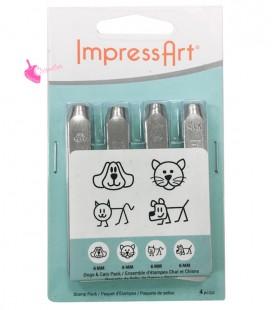Set Cani e Gatti Dogs & Cats Pack per Incisioni Metal Stamps 6 mm ImpressArt®