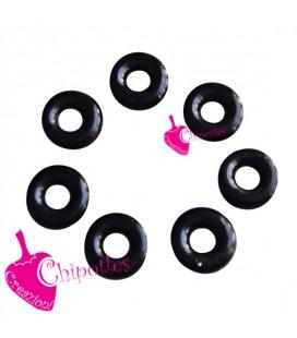 Anellino Nero Silicone Blocca Perla 6 (foro 2) mm