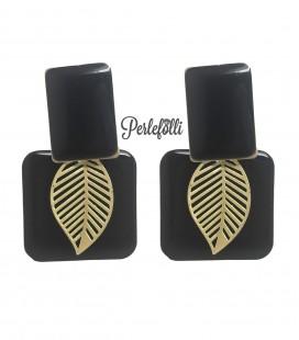 Orecchini Rettangolari Foglia Nero e Oro Opaco