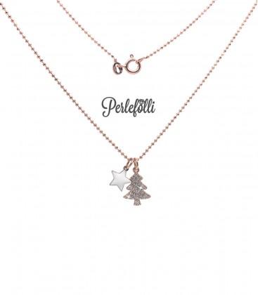 Collana Albero di Natale con Stellina Argento 925 Rosé