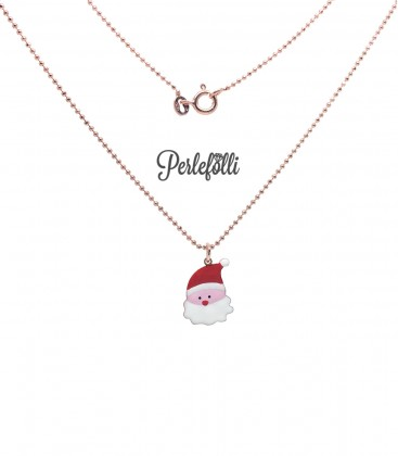 Collana Babbo Natale Smaltato Argento 925 Rosé