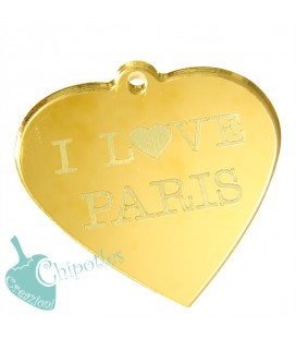 Ciondolo Cuore I love Paris 49x50 mm Plexiglass Specchiato color Oro