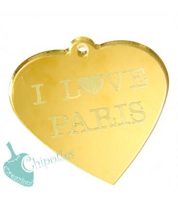 Ciondolo Cuore I love Paris 49x50 mm Plexiglass Specchiato color Oro