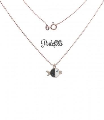 Collana Pesce Nero con Zirconi Argento 925 Rosé