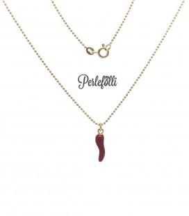 Collana Cornetto Rosso Portafortuna Smaltato Argento 925 Oro