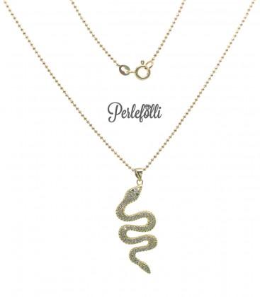 Collana Serpente con Zirconi Bianchi colore Oro