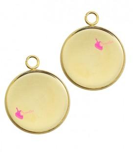 Ciondolo Base per Cabochon (Ø 20 mm) Acciaio Inossidabile Oro