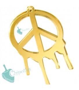 Ciondolo Simbolo Pace Colato 69x43 mm Plexiglass Specchiato color Oro