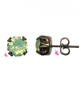Orecchini a Perno con Chaton Swarovski Chrysolite Opal 8 mm color Cioccolato