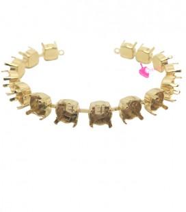 Base Bracciale con 15 Castoni per Chaton Swarovski® SS39 8 mm colore Oro