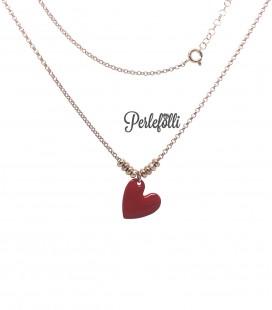 Collana Cuore Rosso Argento 925 Rosé