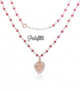 Collana Cuore Sacro con Pietre Rosse Argento 925 Rosé