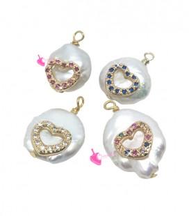 Ciondolo Perla Acqua Dolce 15-18 mm con Cuore Zirconi Vari Colori