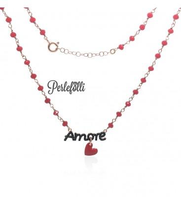 Collana Amore Zirconi Neri con Cuoricino Rosso Argento 925 Rosé