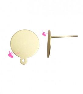Perni per Orecchini con Disco 14 mm Oro Opaco (1 paio)