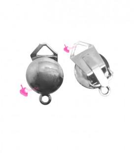 Clip Bombata per Orecchini 11 mm colore Acciaio (1 paio)