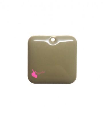 Ciondolo Quadrato Smaltato 22 mm Beige Scuro