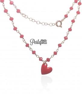Bracciale Cuore Rosso Portafortuna Argento 925 Oro Rosa