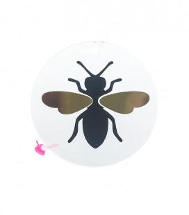 Ciondolo Disco Trasparente 30 mm con Mosca Plexi Acrilico