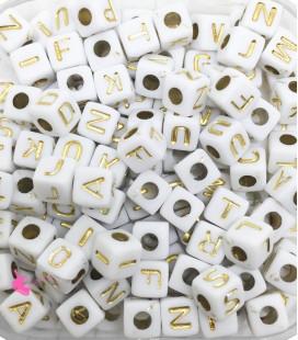 Perle Cubo Lettere Alfabeto 5x5 mm (foro 2,3mm) Acrilico Bianco e Oro (400 pezzi)