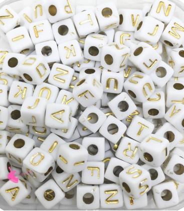 Perle Cubo 5x5 mm (foro 2,3mm) Acrilico Bianco e Oro (400 pezzi)