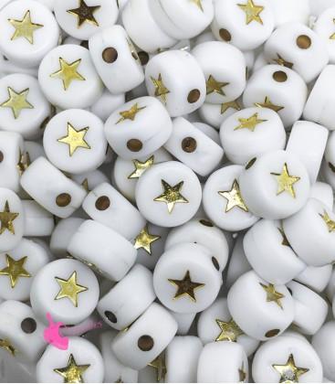 Perle Tonde Piatte Stella mm (foro 1,3mm) Acrilico Bianco e Oro (100 pezzi)