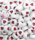 Perle Tonde Piatte Cuore mm (foro 1,3mm) Acrilico Bianco e Rosso (100 pezzi)