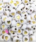 Perle Tonde Piatte Cuore mm (foro 1,3mm) Acrilico Bianco e Oro (100 pezzi)