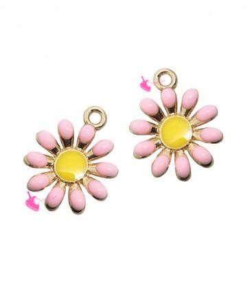 Ciondolo Fiore Margherita Smaltata 17x14 mm Rosa Base Oro