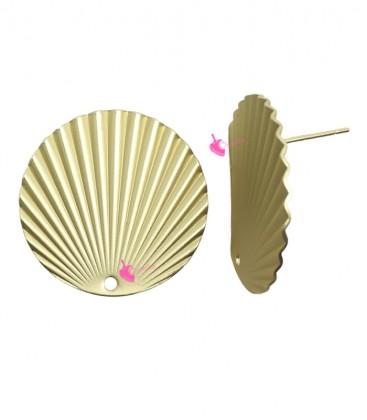Perni per Orecchini con Disco Ondulato 25 mm Oro Opaco (1 paio)