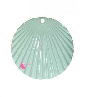 Ciondolo Disco Ondulato 37 mm Verde Menta