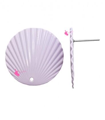 Perni per Orecchini con Disco Ondulato 25 mm Lilla (1 paio)