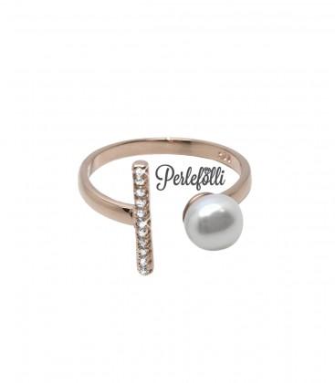 Anello Perla con Zirconi Bianchi Argento 925 Rosé