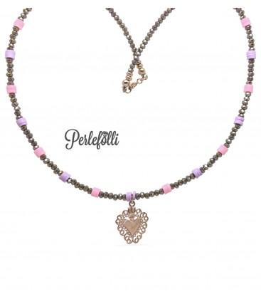 Collana Sacro Cuore Argento 925 Rosé