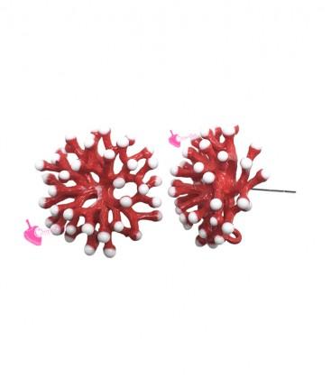Perni per Orecchini Ramo Corallo 20x10 mm Smaltato Rosso (1 paio)
