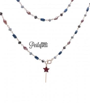 Collana Bacchetta Magica Rossa Glitter con Cristalli Argento 925 Rosé