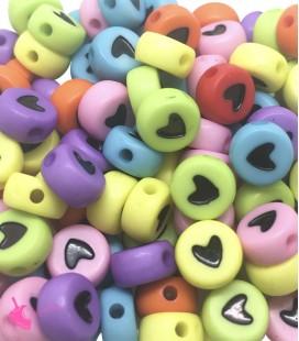 Perle Tonde Piatte Colorate Cuore mm (foro 1,3mm) Acrilico (100 pezzi)