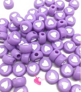 Perle Tonde Piatte Cuore mm (foro 1,3mm) Acrilico Lilla e Bianco (100 pezzi)