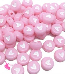 Perle Tonde Piatte Cuore mm (foro 1,3mm) Acrilico Rosa e Bianco (100 pezzi)