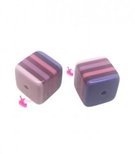 Perla Cubo 12 mm Trasparente Righe Rosa Lilla